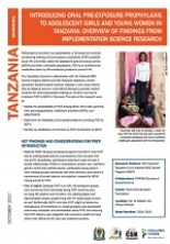 Introducing oral pre-exposure prophylaxis to adolescent girls and young women in Tanzania: Overview of findings from implementation science research