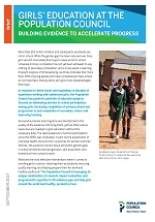 Girls' education at the Population Council: Building evidence to accelerate progress